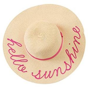 Hello Sunshine Pink Embroidered Floppy Straw Hat